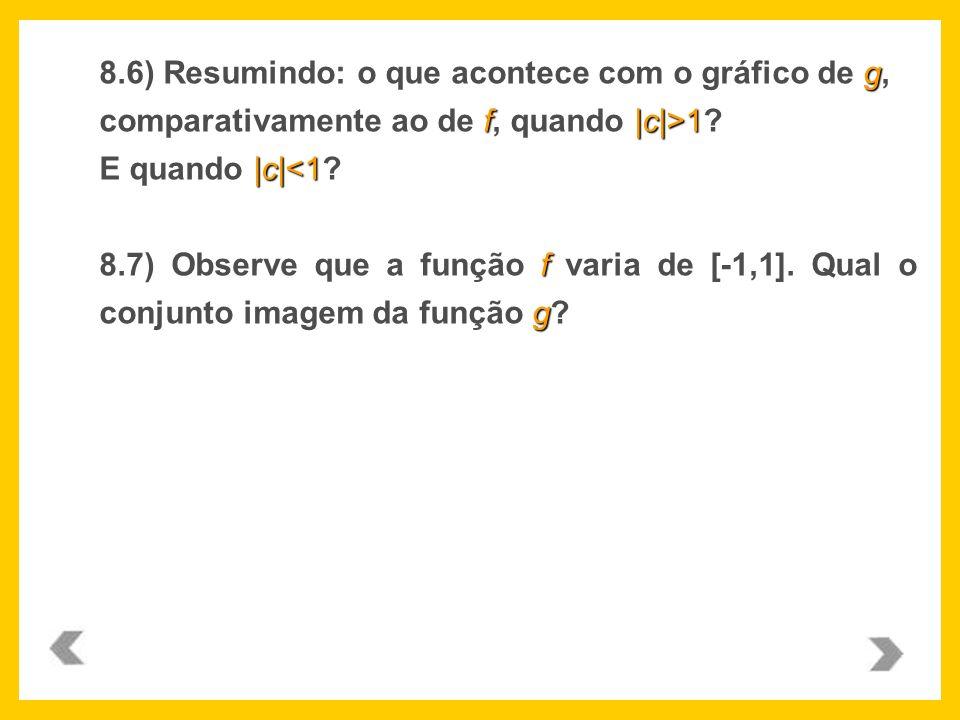 8.6) Resumindo: o que acontece com o gráfico de g, comparativamente ao de f, quando |c|>1 E quando |c|<1