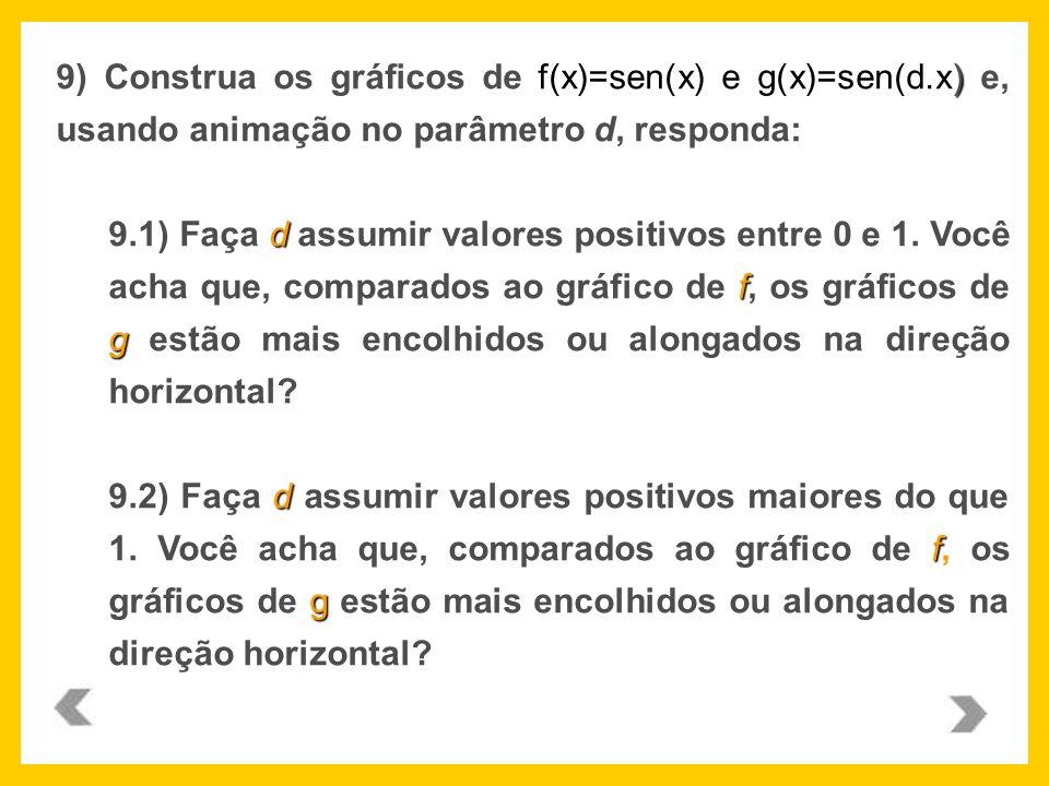 9) Construa os gráficos de f(x)=sen(x) e g(x)=sen(d