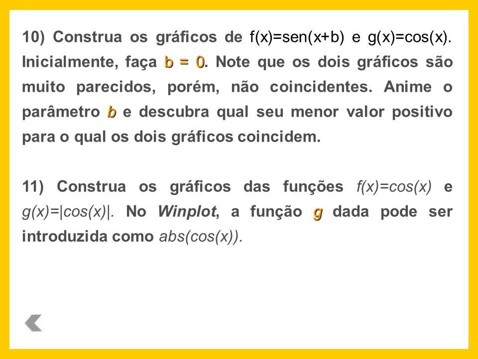10) Construa os gráficos de f(x)=sen(x+b) e g(x)=cos(x)