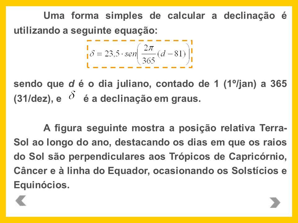 Uma forma simples de calcular a declinação é utilizando a seguinte equação: