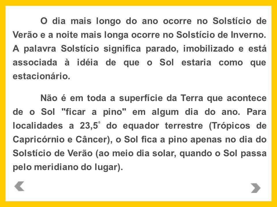 O dia mais longo do ano ocorre no Solstício de Verão e a noite mais longa ocorre no Solstício de Inverno. A palavra Solstício significa parado, imobilizado e está associada à idéia de que o Sol estaria como que estacionário.