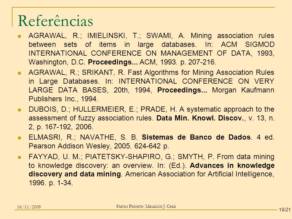 Status Projeto- Mauricio J. Cerri