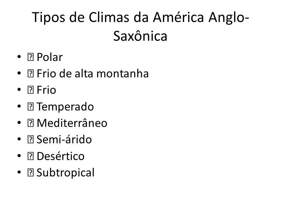 Tipos de Climas da América Anglo-Saxônica