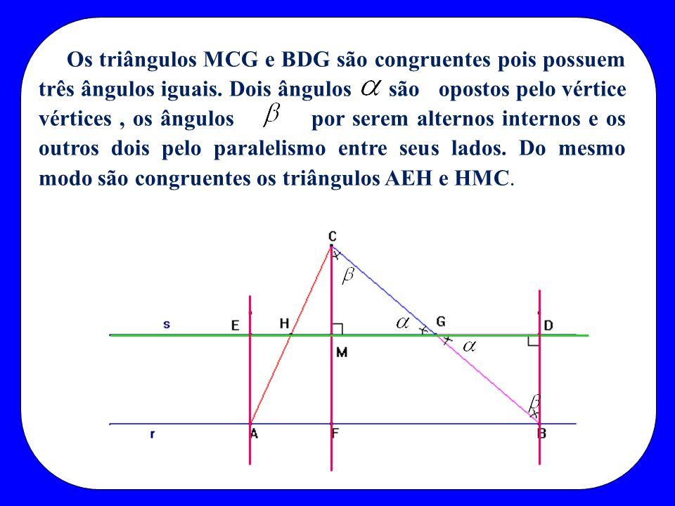 Os triângulos MCG e BDG são congruentes pois possuem três ângulos iguais.