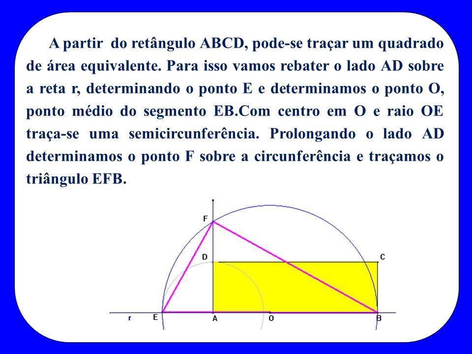 A partir do retângulo ABCD, pode-se traçar um quadrado de área equivalente.