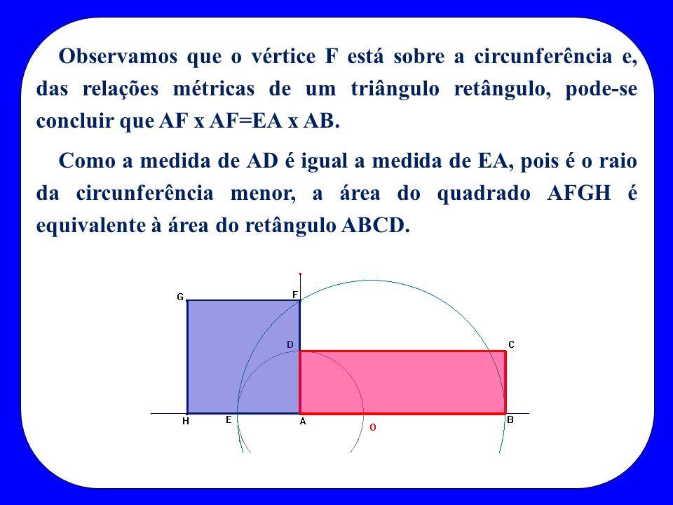 Observamos que o vértice F está sobre a circunferência e, das relações métricas de um triângulo retângulo, pode-se concluir que AF x AF=EA x AB.