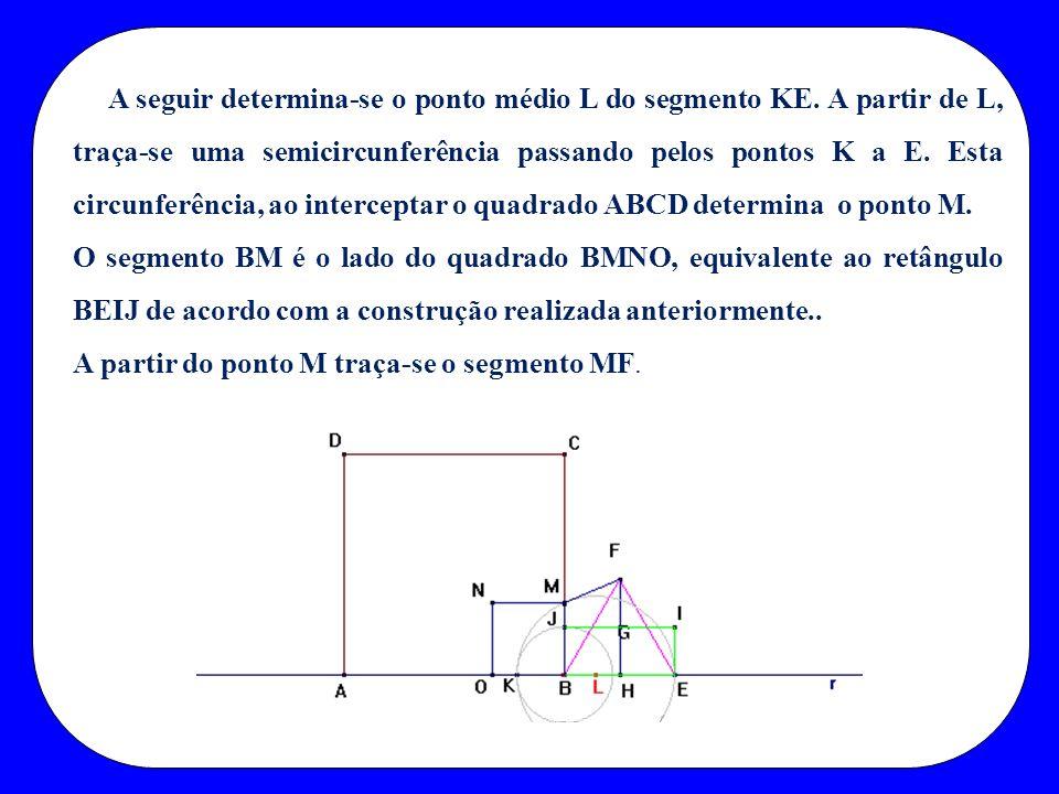 A seguir determina-se o ponto médio L do segmento KE