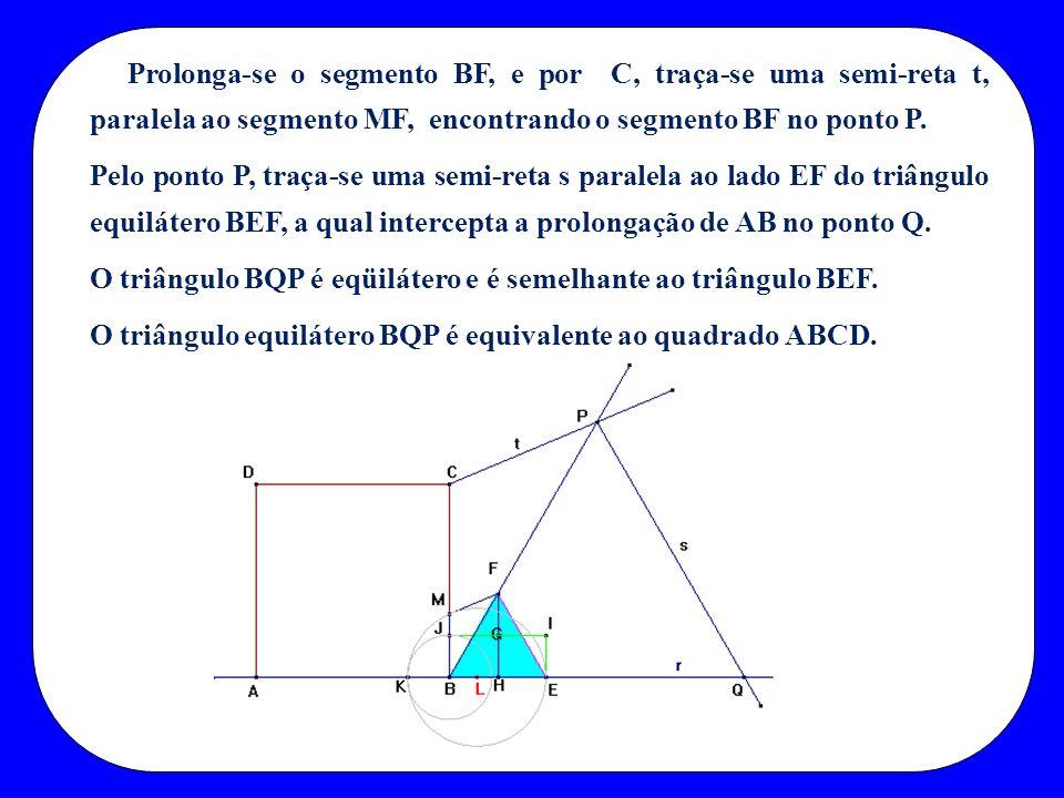 Prolonga-se o segmento BF, e por C, traça-se uma semi-reta t, paralela ao segmento MF, encontrando o segmento BF no ponto P.