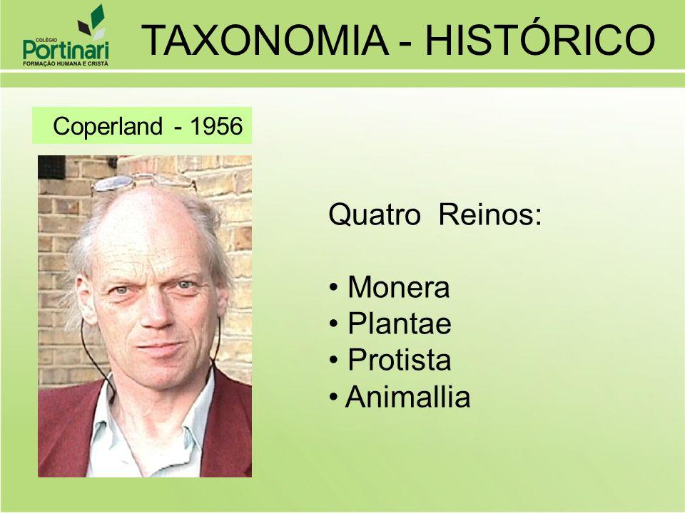 TAXONOMIA - HISTÓRICO Quatro Reinos: Monera Plantae Protista Animallia