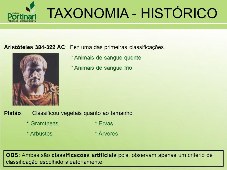 TAXONOMIA - HISTÓRICO Aristóteles 384-322 AC: Fez uma das primeiras classificações. * Animais de sangue quente.