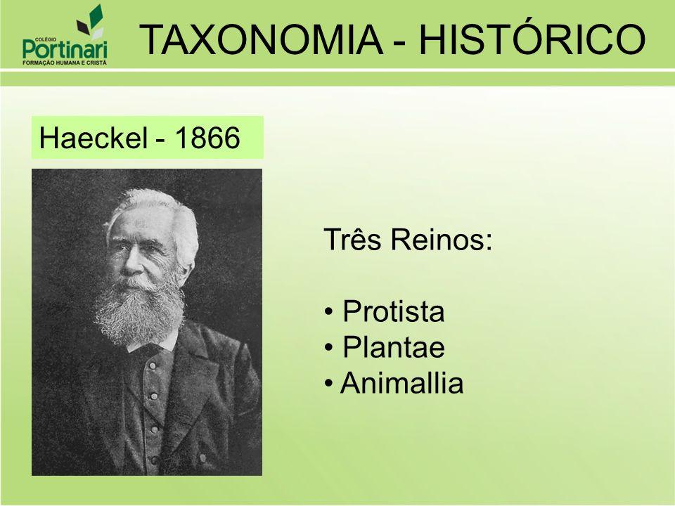 TAXONOMIA - HISTÓRICO Haeckel - 1866 Três Reinos: Protista Plantae