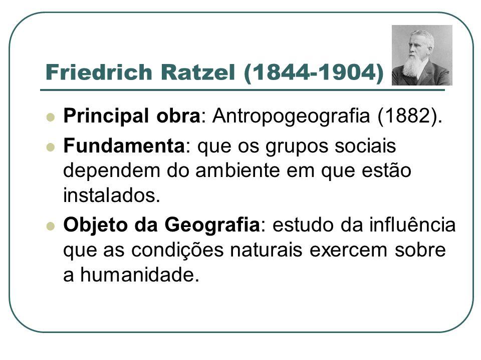 Friedrich Ratzel (1844-1904) Principal obra: Antropogeografia (1882).