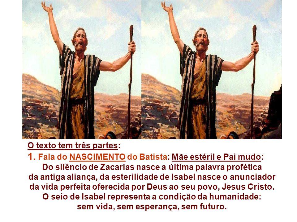 1. Fala do NASCIMENTO do Batista: Mãe estéril e Pai mudo: