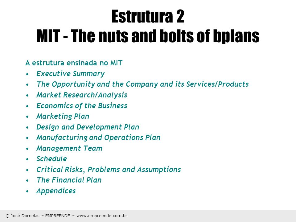 Estrutura 2 MIT - The nuts and bolts of bplans