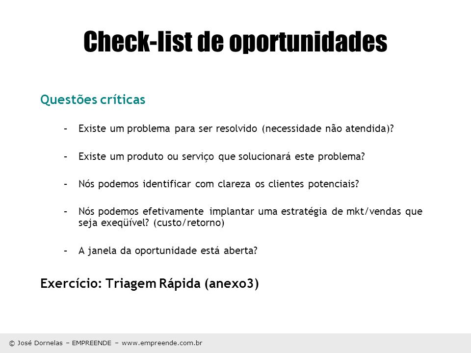 Check-list de oportunidades