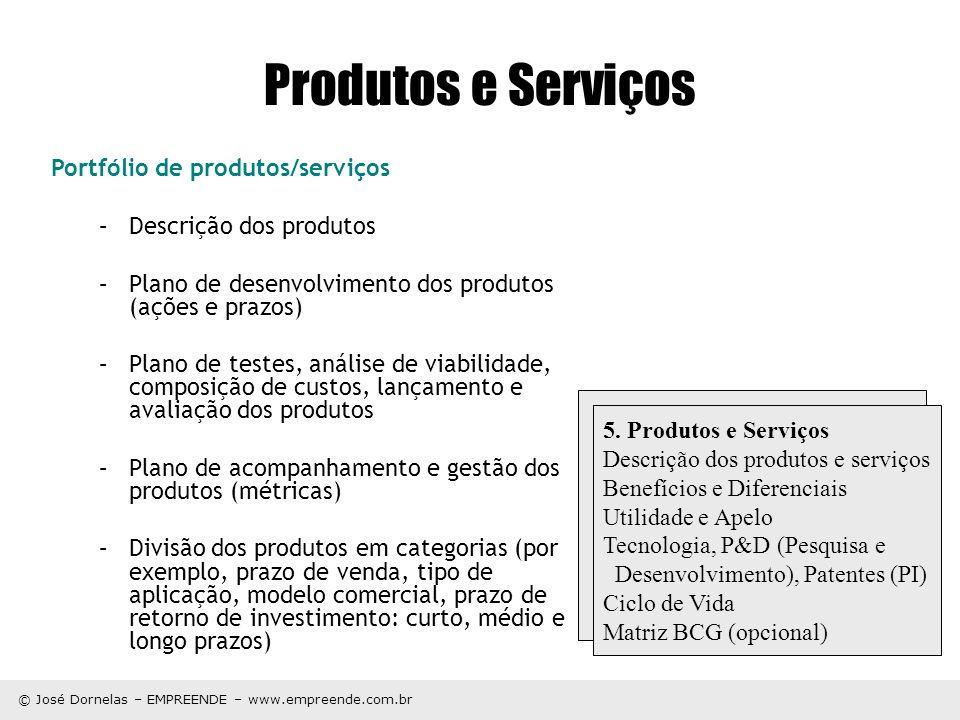 Produtos e Serviços Portfólio de produtos/serviços