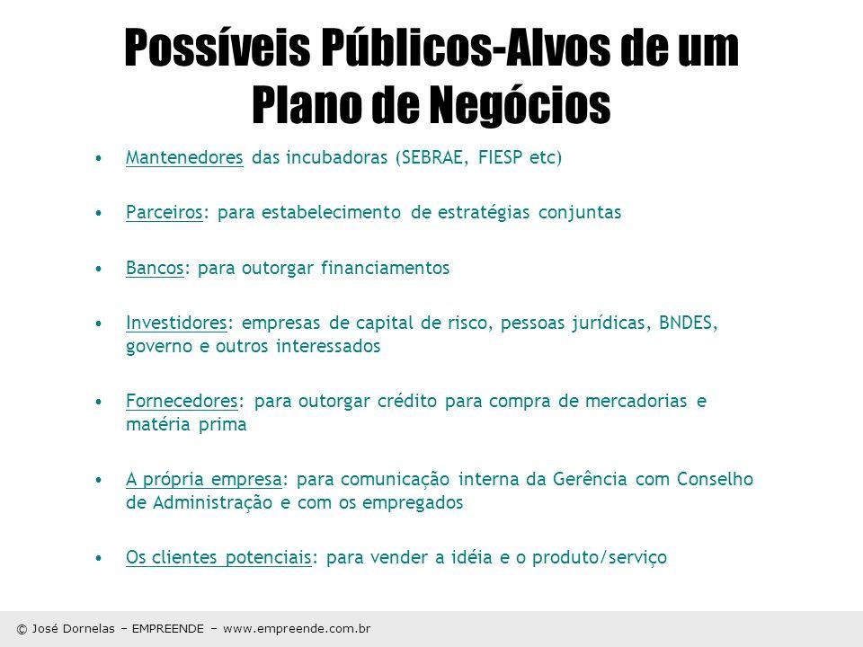 Possíveis Públicos-Alvos de um Plano de Negócios