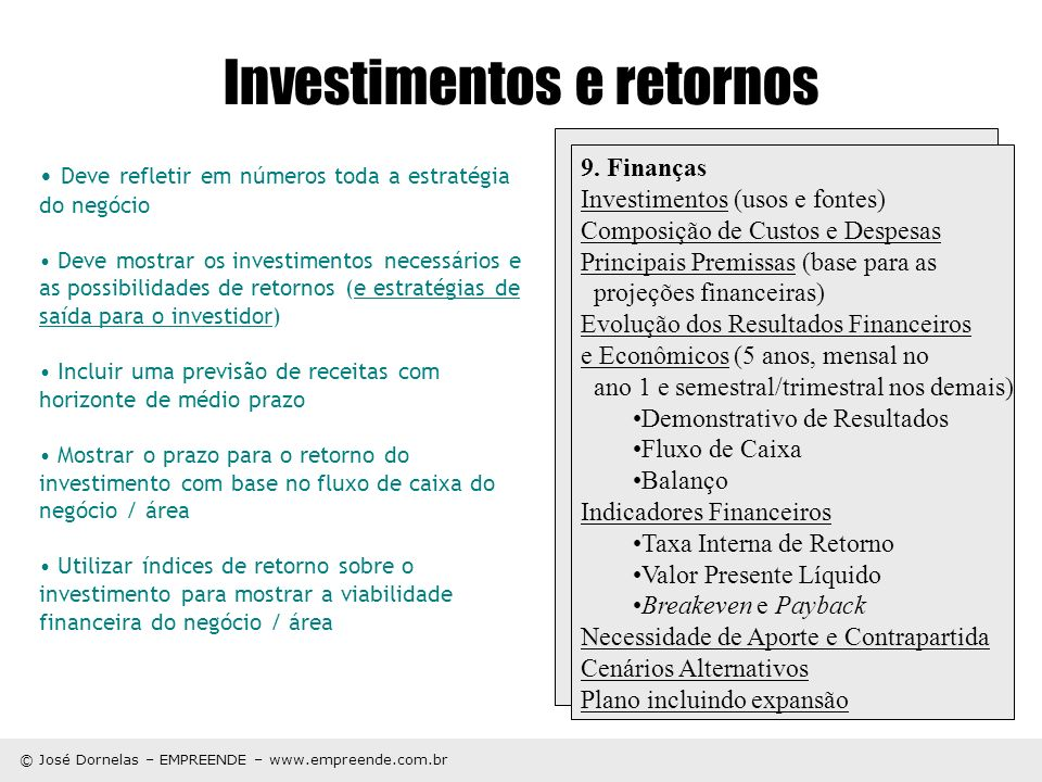 Investimentos e retornos