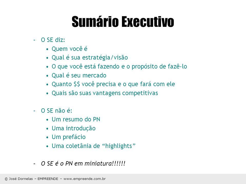 Sumário Executivo O SE diz: Quem você é Qual é sua estratégia/visão