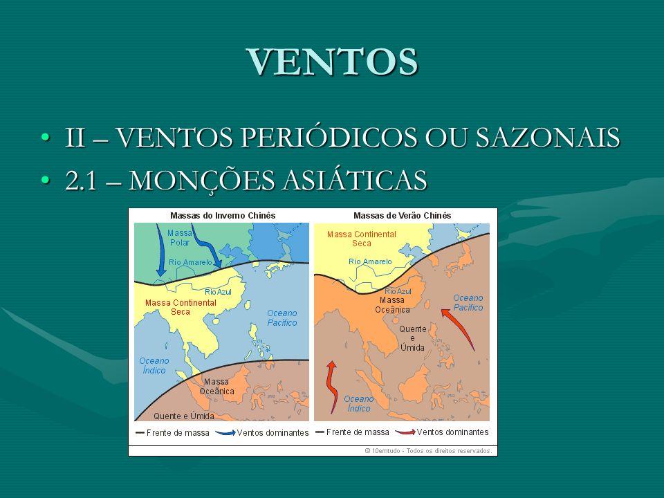 VENTOS II – VENTOS PERIÓDICOS OU SAZONAIS 2.1 – MONÇÕES ASIÁTICAS