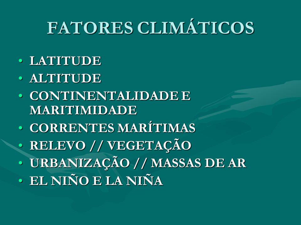 FATORES CLIMÁTICOS LATITUDE ALTITUDE CONTINENTALIDADE E MARITIMIDADE