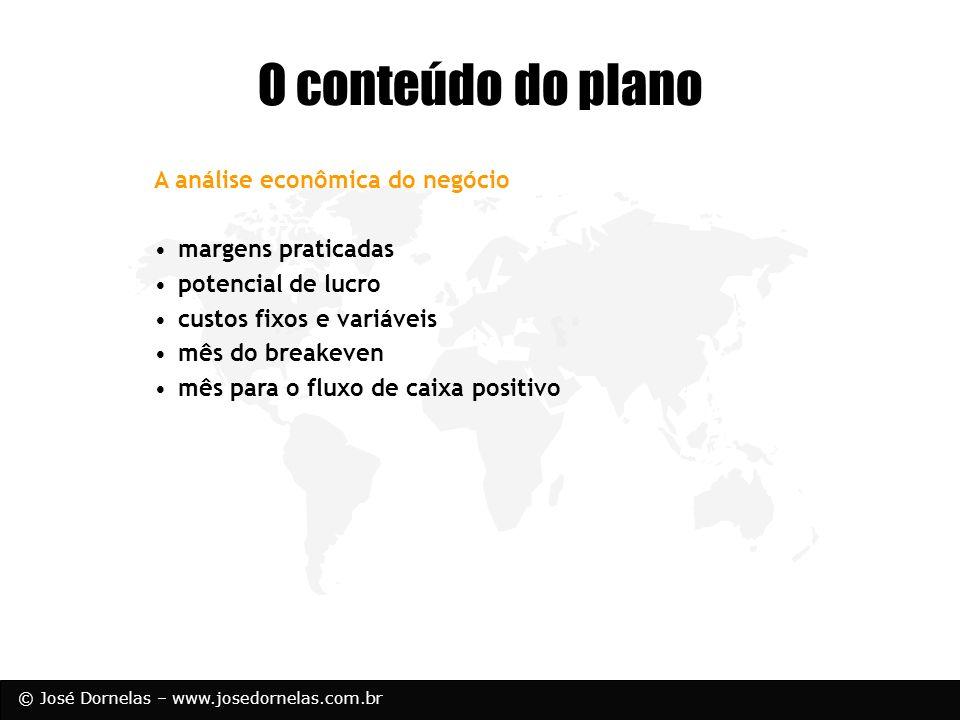 O conteúdo do plano A análise econômica do negócio margens praticadas