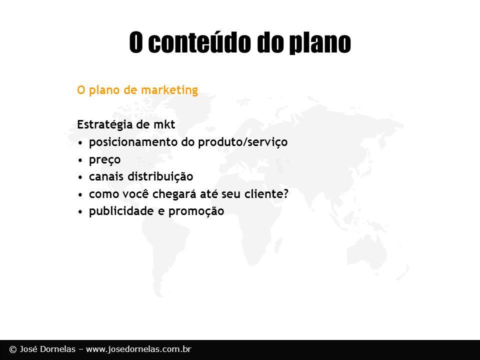O conteúdo do plano O plano de marketing Estratégia de mkt