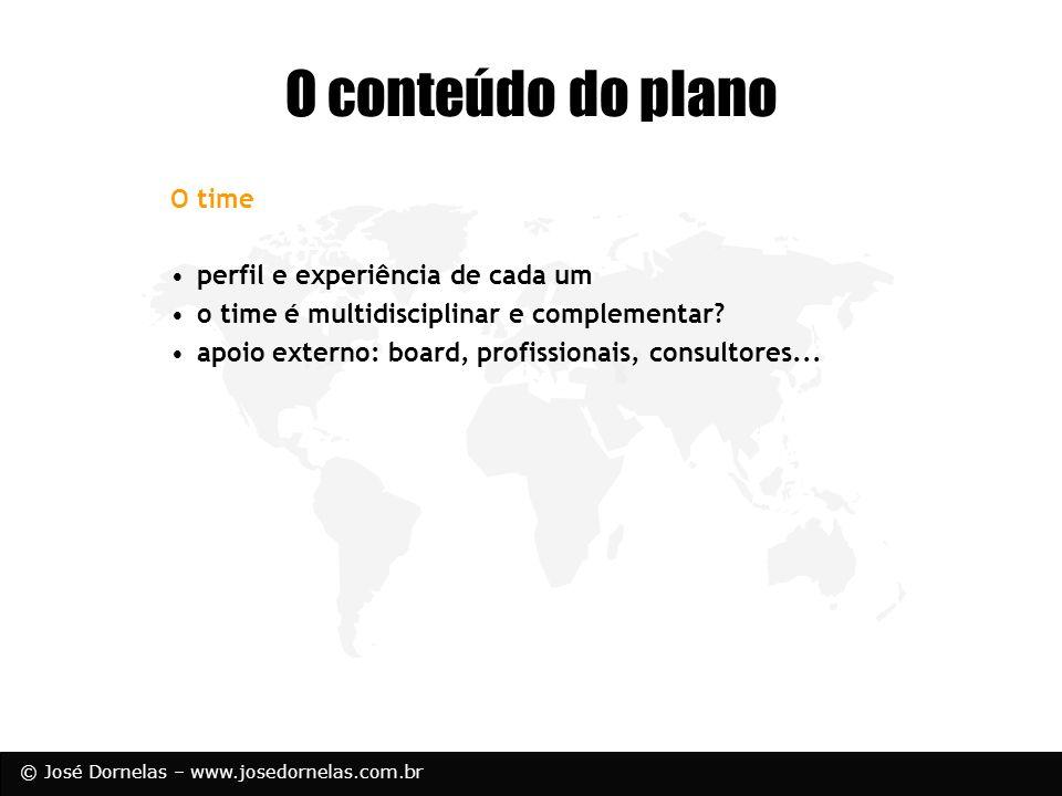 O conteúdo do plano O time perfil e experiência de cada um