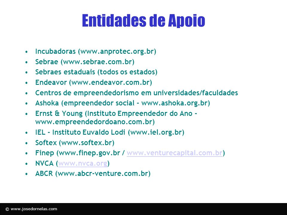 Entidades de Apoio Incubadoras (www.anprotec.org.br)