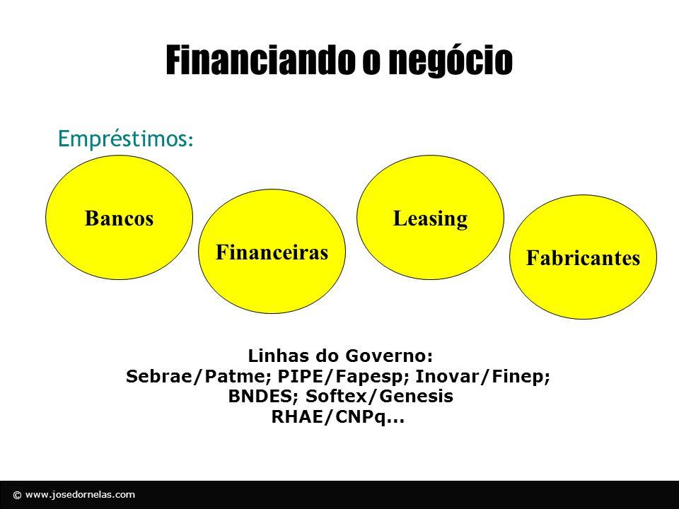 Sebrae/Patme; PIPE/Fapesp; Inovar/Finep; BNDES; Softex/Genesis