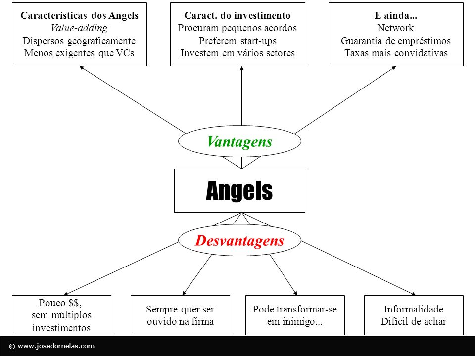 Características dos Angels Caract. do investimento
