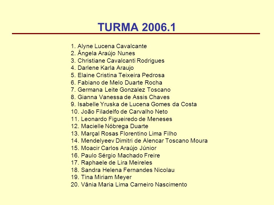 TURMA 2006.1 Alyne Lucena Cavalcante Ângela Araújo Nunes