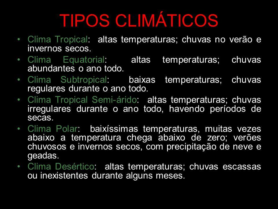 TIPOS CLIMÁTICOS Clima Tropical: altas temperaturas; chuvas no verão e invernos secos.