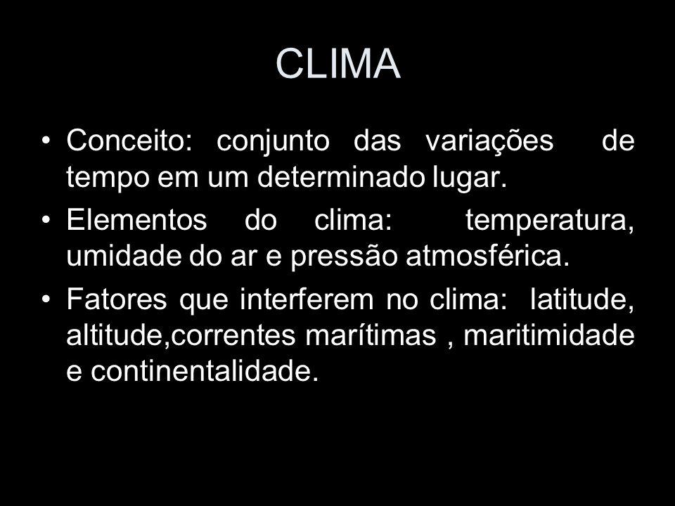 CLIMA Conceito: conjunto das variações de tempo em um determinado lugar. Elementos do clima: temperatura, umidade do ar e pressão atmosférica.