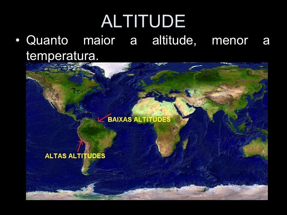 ALTITUDE Quanto maior a altitude, menor a temperatura.