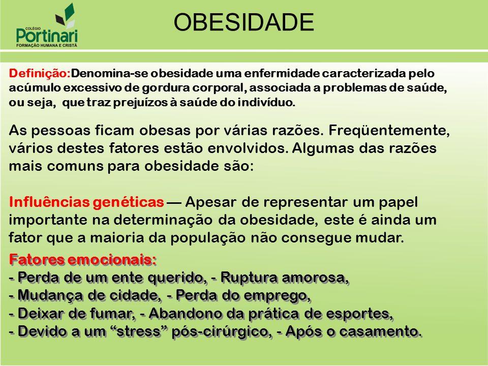OBESIDADE Definição:Denomina-se obesidade uma enfermidade caracterizada pelo acúmulo excessivo de gordura corporal, associada a problemas de saúde,