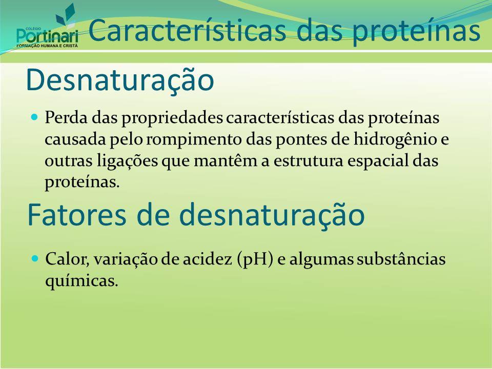 Características das proteínas Desnaturação