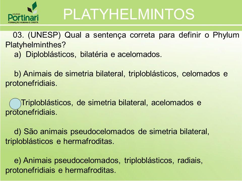 PLATYHELMINTOS a) Diploblásticos, bilatéria e acelomados.