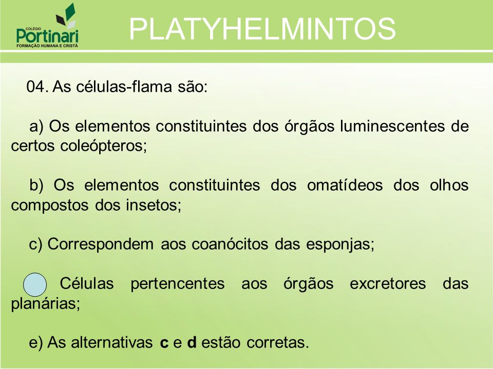 PLATYHELMINTOS 04. As células-flama são: a) Os elementos constituintes dos órgãos luminescentes de certos coleópteros;