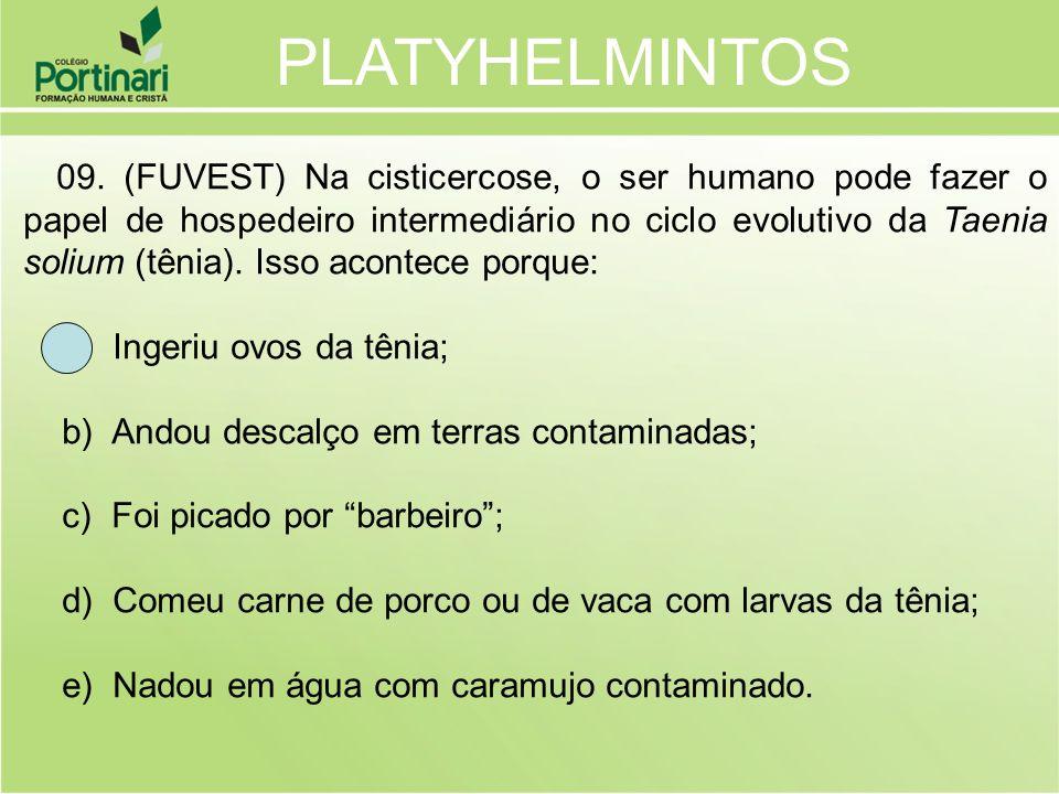 PLATYHELMINTOS a) Ingeriu ovos da tênia;