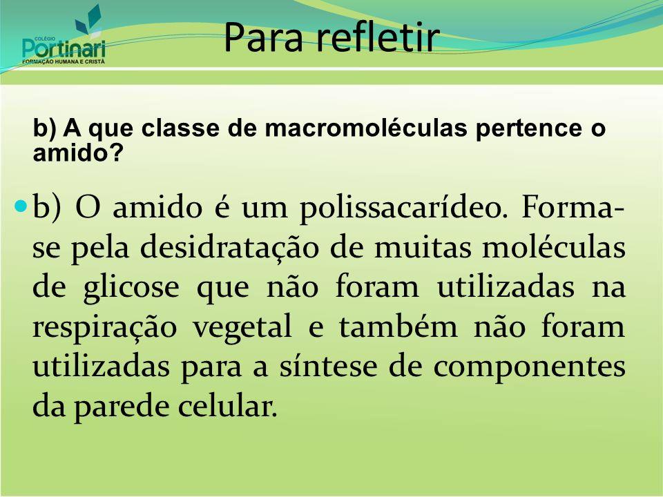 Para refletir b) A que classe de macromoléculas pertence o amido