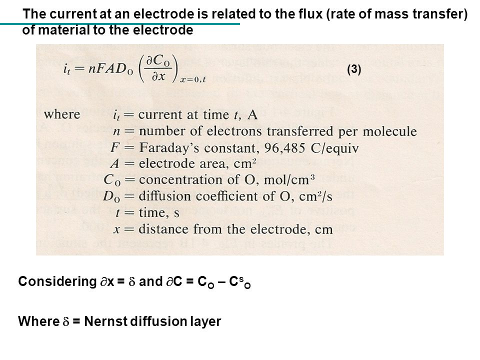 Considering x =  and C = CO – CsO Where  = Nernst diffusion layer