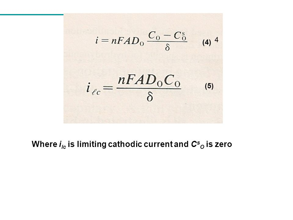 Where ilc is limiting cathodic current and CsO is zero