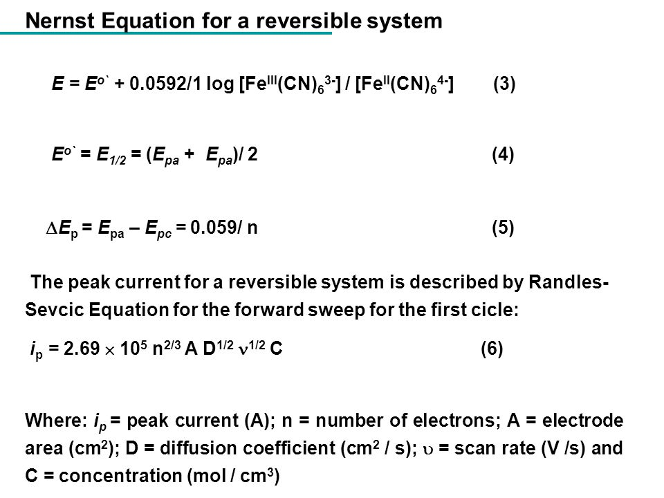 Nernst Equation for a reversible system