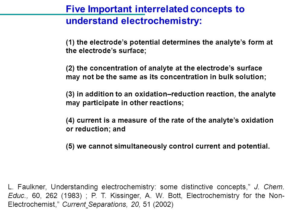 Five Important interrelated concepts to understand electrochemistry: