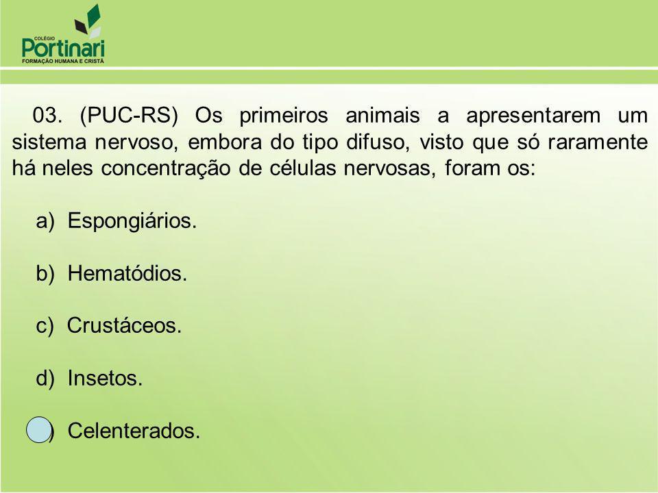 a) Espongiários. b) Hematódios. c) Crustáceos. d) Insetos.