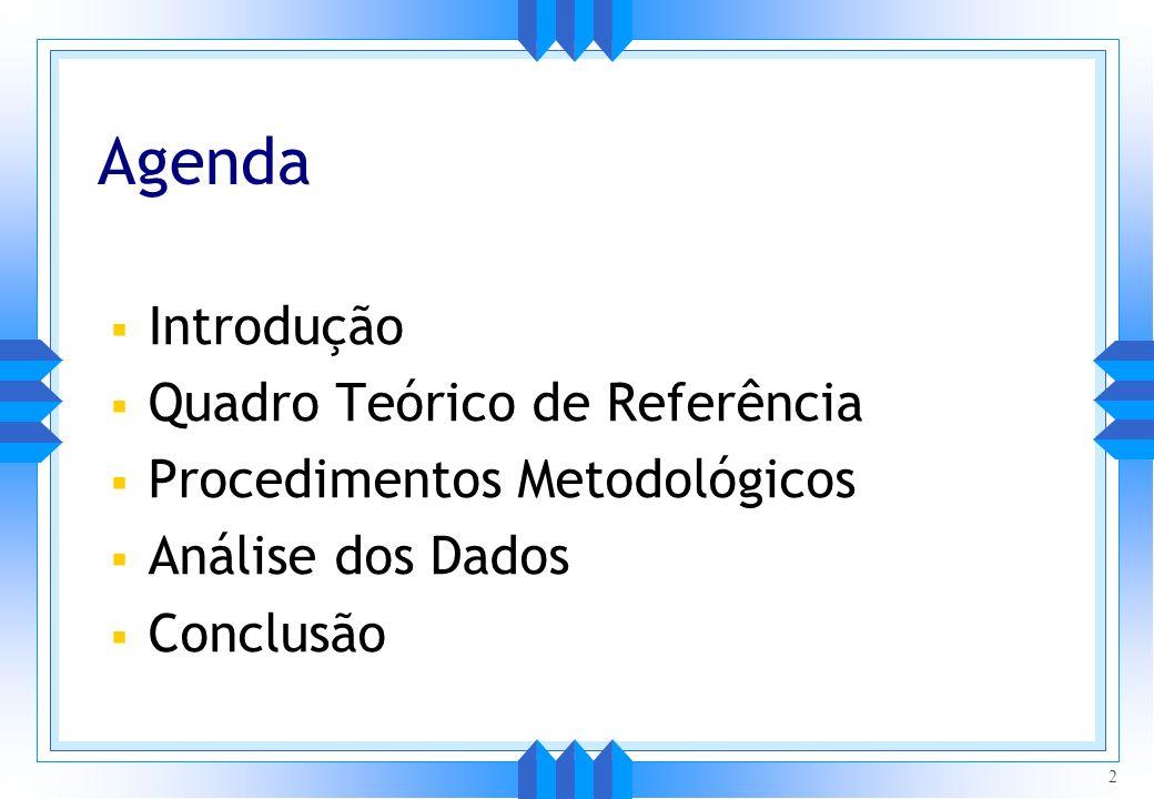 Agenda Introdução Quadro Teórico de Referência