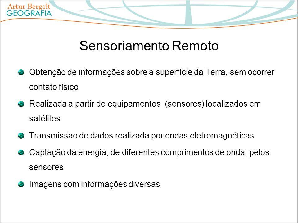 Sensoriamento Remoto Obtenção de informações sobre a superfície da Terra, sem ocorrer contato físico.