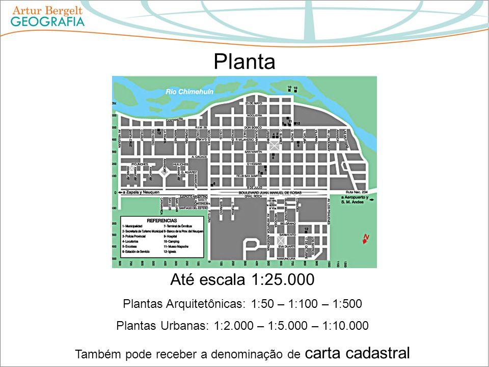 Planta Até escala 1:25.000. Plantas Arquitetônicas: 1:50 – 1:100 – 1:500. Plantas Urbanas: 1:2.000 – 1:5.000 – 1:10.000.