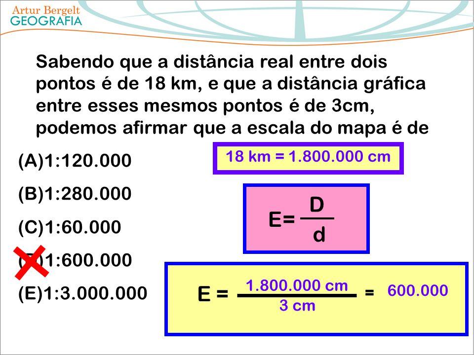 Sabendo que a distância real entre dois pontos é de 18 km, e que a distância gráfica entre esses mesmos pontos é de 3cm, podemos afirmar que a escala do mapa é de